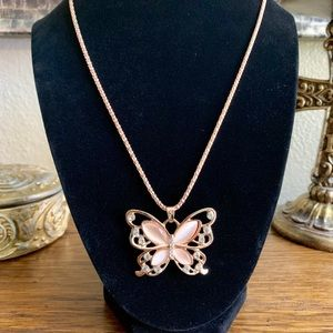 Jewelry - Girls' butterfly pendant necklace rose gold finish